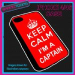 FITS IPHONE 4 / 4S PHONE KEEP CALM IM A  CAPTAIN PLASTIC COVER COOL GIFT RED